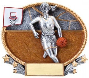 Female Basketball Small 3D Oval Trophy