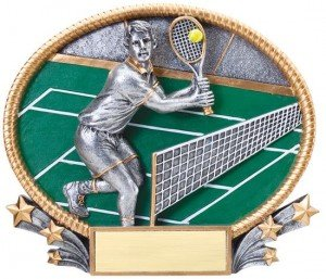 Male Tennis Trophy Small 3D Oval