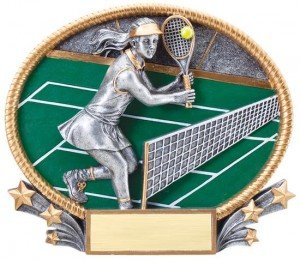 Female Tennis Trophy Small 3D Oval