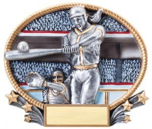Softball Player 3D Oval Trophy