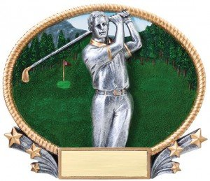 Male Golf 3D Oval Trophy