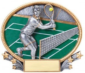 Male Tennis 3D Oval Trophy