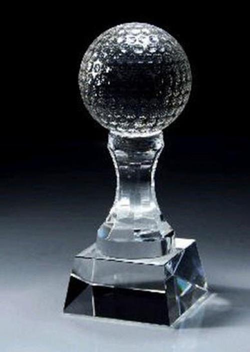 Crystal Golf Ball Pedestal Trophy