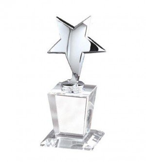 Silver Pedestal Crystal Award