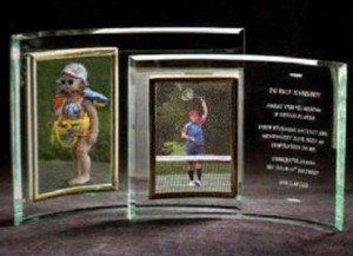 Vertical Glass Crescent Award