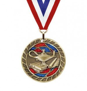 Lamp of Knowledge Glitter Medal
