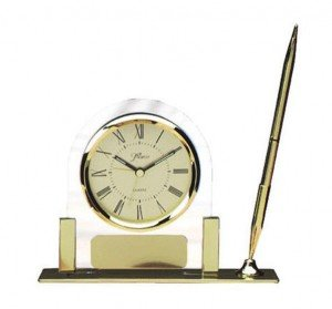 Glass Clock with Pen