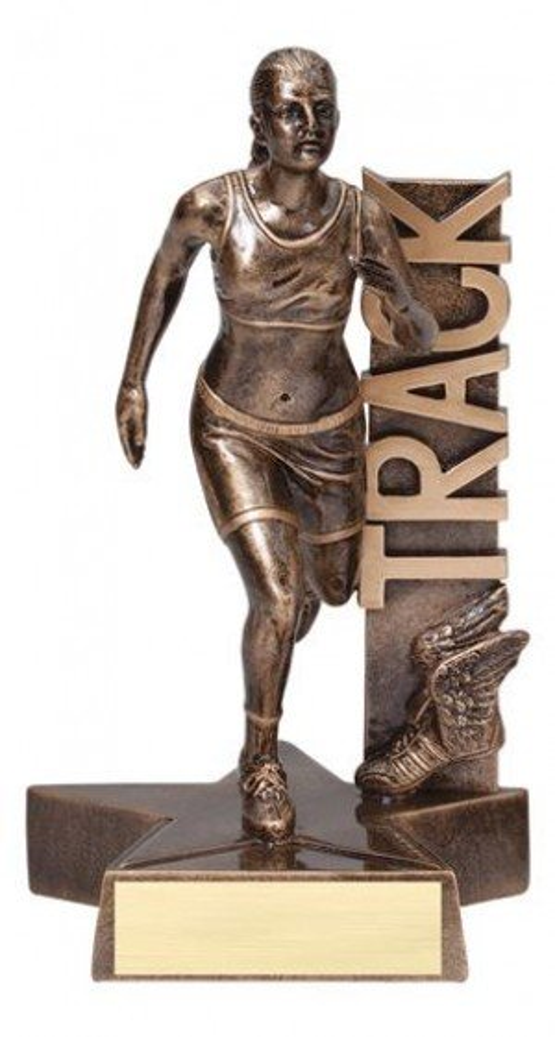 Female Track Runner Billboard Trophy