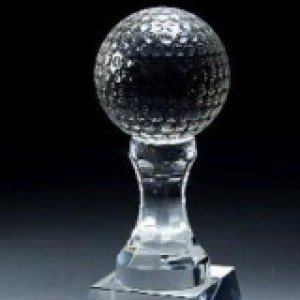 Crystal Golf Ball Pedestal Trophy