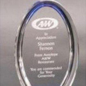 Acrylic Blue Oval Award