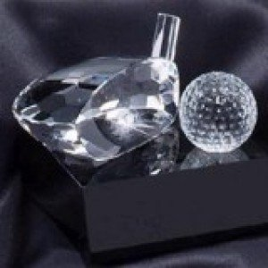 Golf Club and Ball Crystal Award