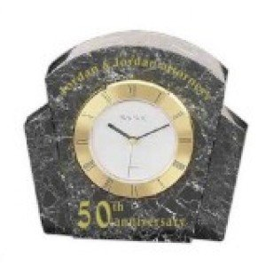 Black Marble Desk Clock