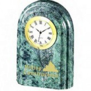 Green Marble Grooved Arch Clock
