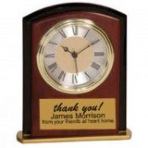 Mahogany Square Arch Desk Clock