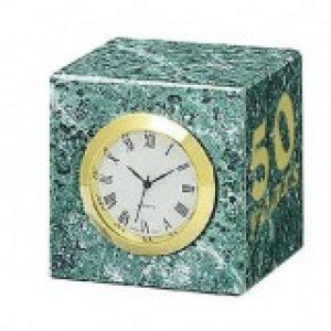 Green Marble Cube Clock