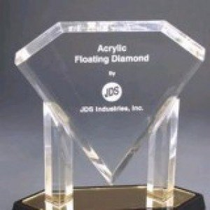 Gold Floating Diamond Acrylic Award