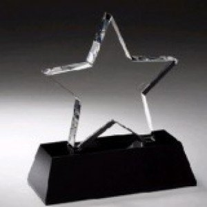 Crystal Star Black Pedestal Award