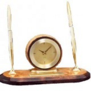 Burlwood Clock Desk Set