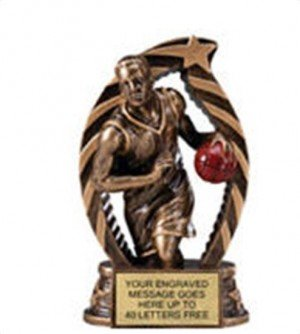 Basketball Male Star Flame Resin Trophy 5.5 Inches