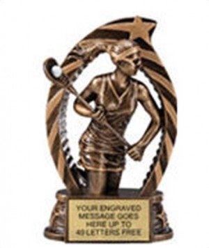 Lacrosse Female Star Flame Resin Trophy 5.5 Inches