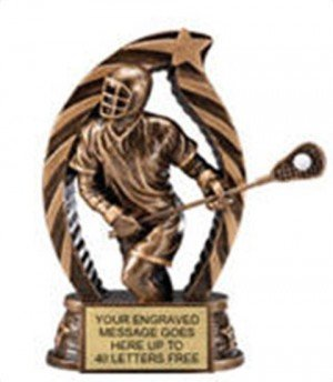 Lacrosse Male Star Flame Resin Trophy 5.5 Inches