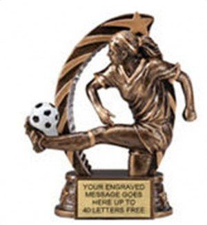 Soccer Female Star Flame Resin Trophy 5.5 Inches
