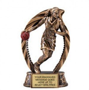 Basketball Female Star Flame Resin Trophy 7.5 Inches