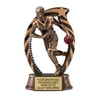 Basketball Male Star Flame Resin Trophy 7.5 Inches