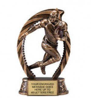 Football Star Flame Resin Trophy 7.5 Inches