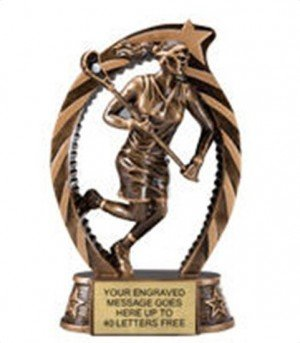 Lacrosse Female Star Flame Resin Trophy 7.5 Inches