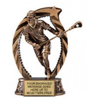 Lacrosse Male Star Flame Resin Trophy 7.5 Inches