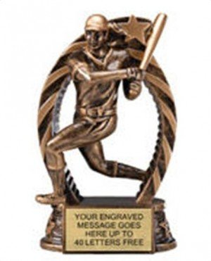 Softball Star Flame Resin Trophies