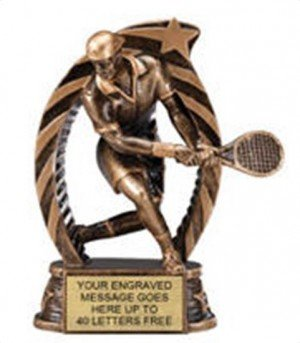 Tennis Male Star Flame Resin Trophies