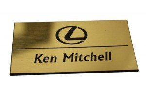 Name Tags Shiny Gold on Black With Square Corners