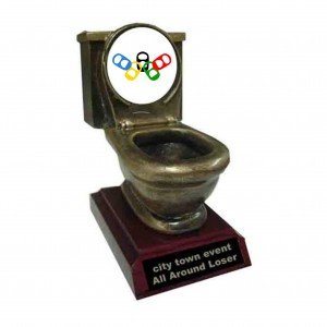 Resin Beer Olympics Toilet Trophy