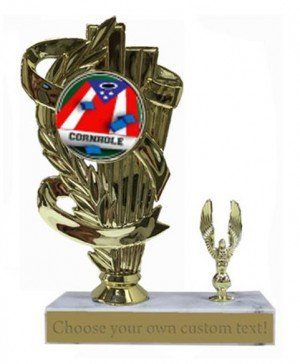 Cornhole Patriotic Marble Base Trophy Award