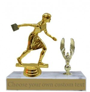 Female Cornhole Marble Base Trophy