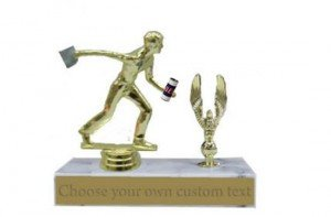 Male Cornhole Drinking Marble Base Trophy