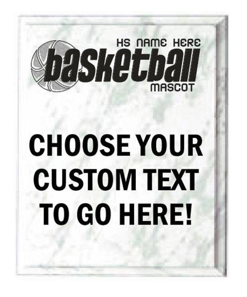 Basketball White Marble Plaque