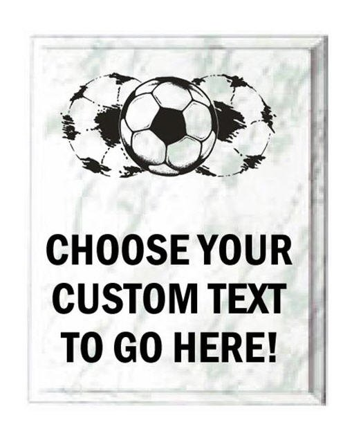 Soccer White Marble Plaque