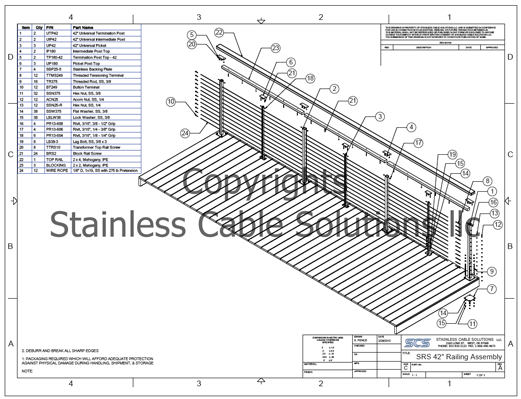 Stainless Railing Assembly Drawing