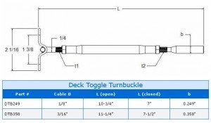 Deck Toggle Turnbuckle Assembly Specs