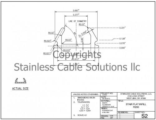 FI200 Flat Infill Stair Rail Specs