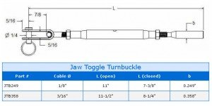 Jaw Toggle Turnbuckle Product Specs