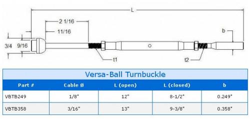 Versa Ball Turnbuckle Product Specs