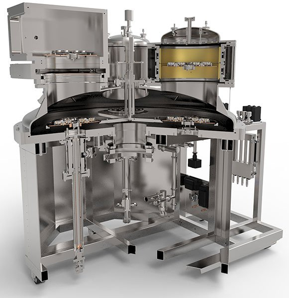 Cutaway rendering of the VIPER high precision optical coating system showing the Isoflux cylindrical cathode