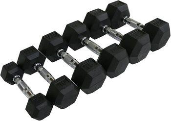 Muscle D Rubber HEX Dumbbells 5-50 lb Set