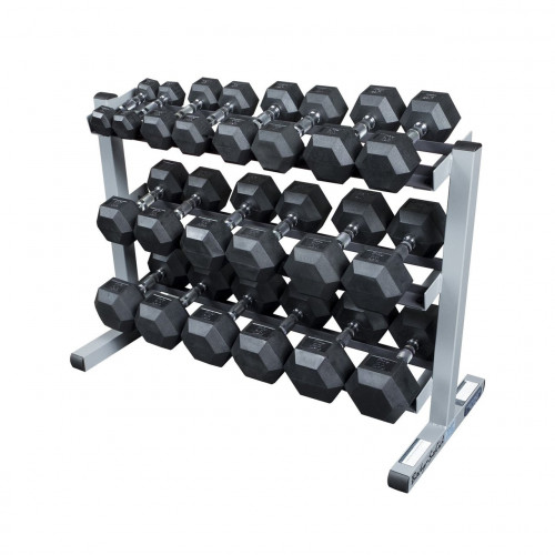Muscle D Rubber HEX Dumbbells 5-50 lb Set with Rack