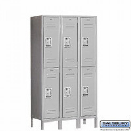 "Double Tier 3 Wide Locker 18"" Depth"