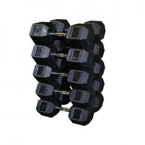 Intek Rubber HEX Dumbbells 5-50lbs - New